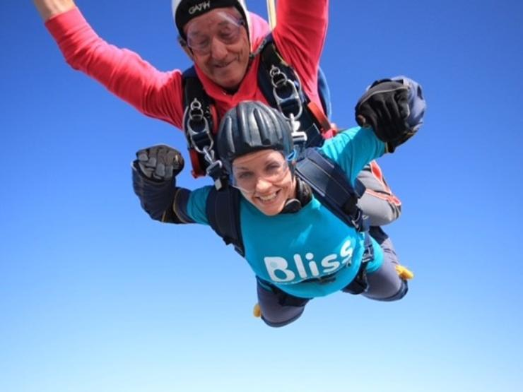 Lady doing a tandem skydive