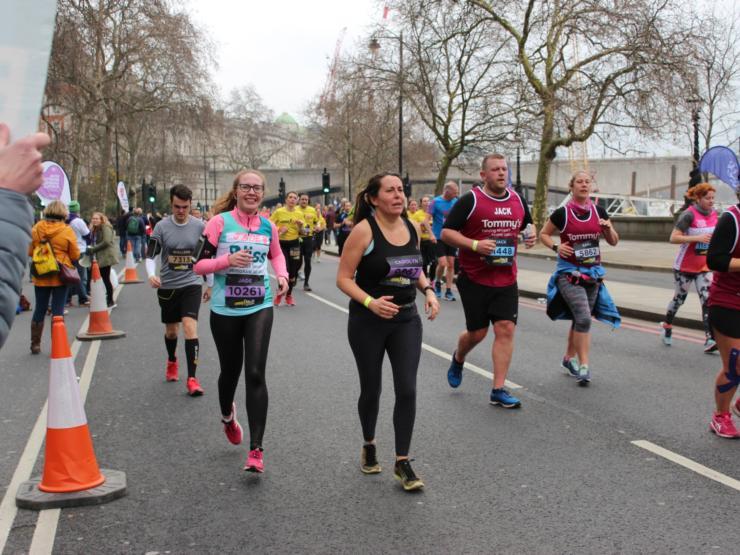 Lady running at the London Landmarks Half Marathon
