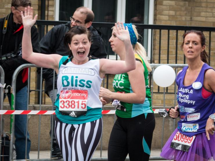 Lady excited whilst running