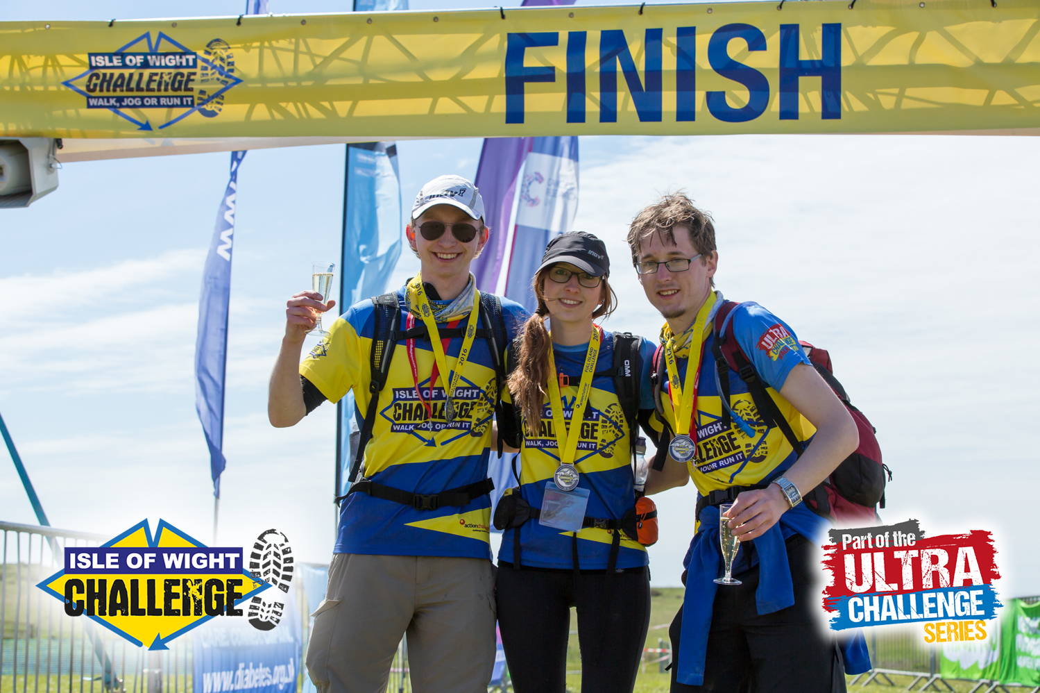 3 walkers at the finish