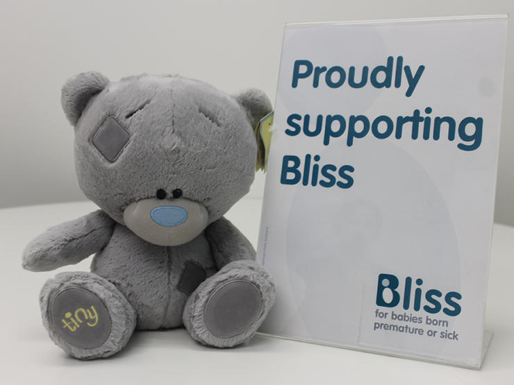 Tiny Tatty teddy Bliss gift with sign saying Proudly supporting Bliss