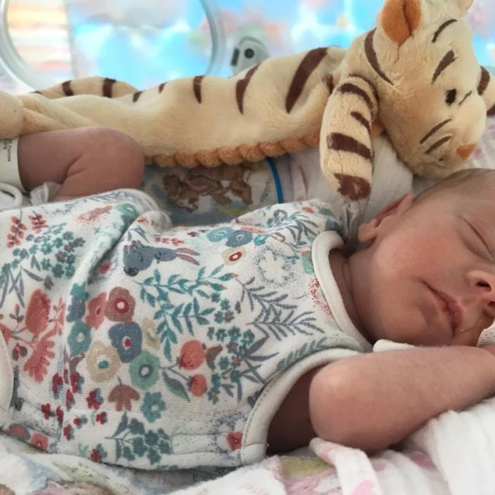 Baby wearing flowery baby vest in incubator asleep with a tiger soft toy