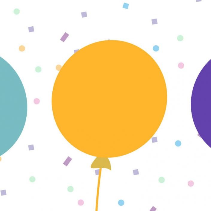A teal balloon, orange balloon and purple balloon against a confetti background