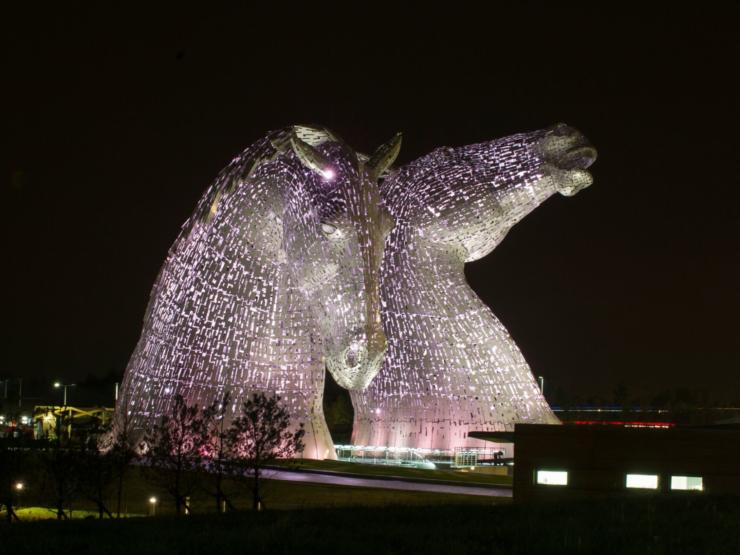 Photo of the Kelpies at night by Lesley Martin
