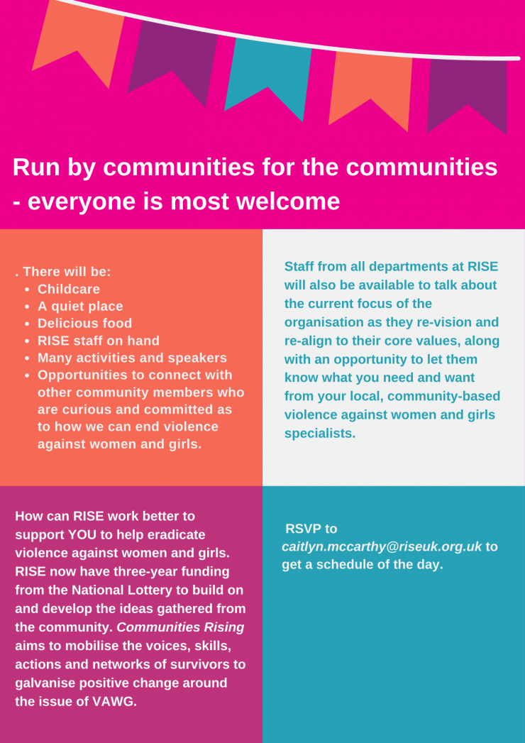 Communities Rising Conference RISE rooted in your community Wednesday 29th September 11 30am 3 30pm and 5pm 8pm Friends Meeting House Ship Lane Brighton BN1 1 AF 5