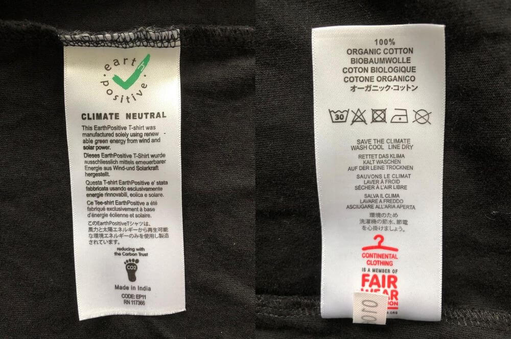 Bespoke wash care clothing garment  labels text is changeable