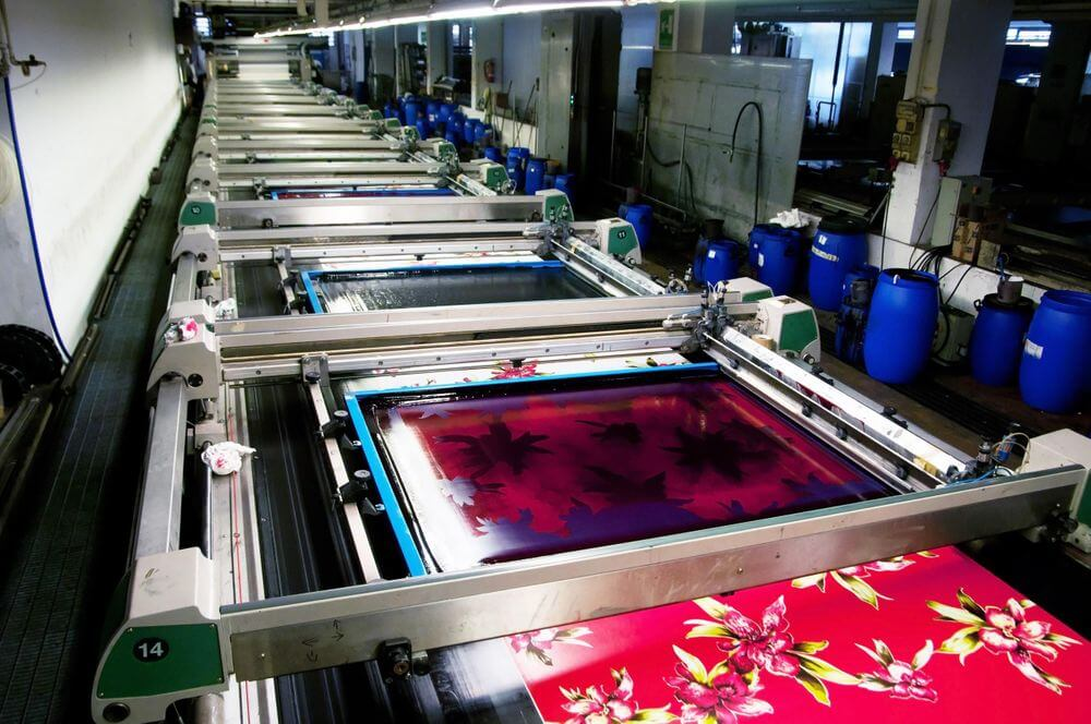 fabric in production during printing textile design