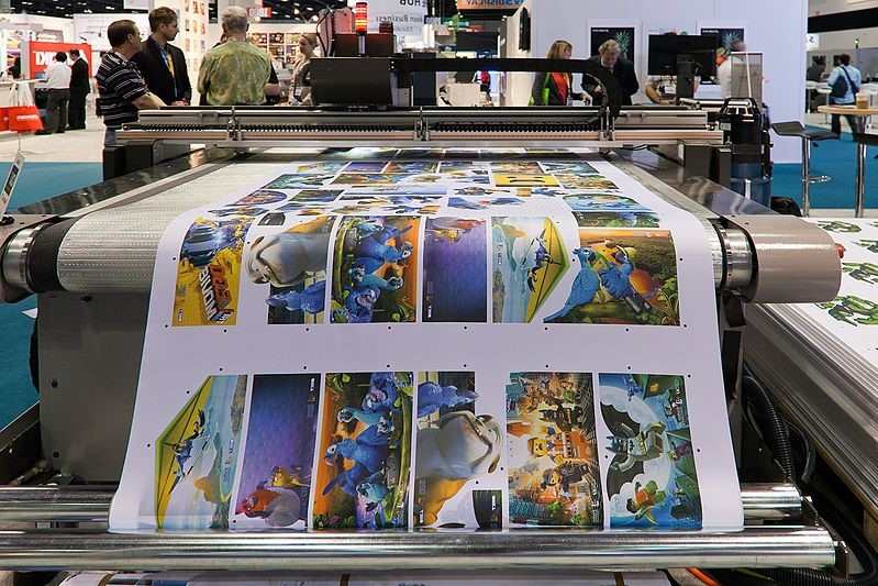 Large-format printer printing images from popular kids movies