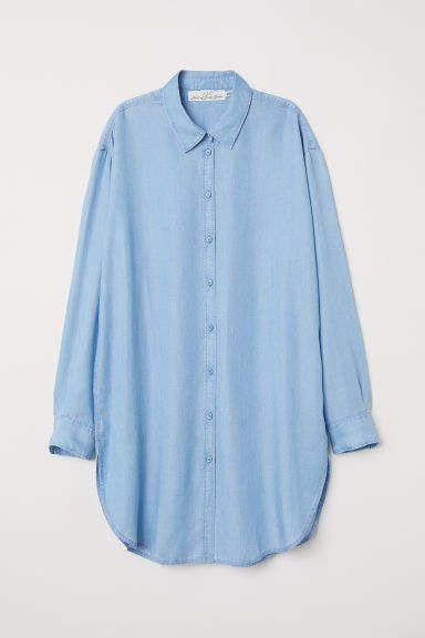 h&m long lyocell shirt - blue
