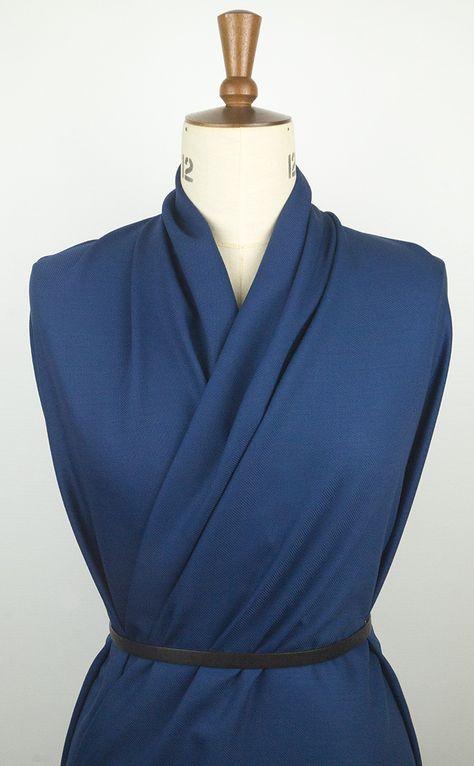'Hauteur' draping petrol blue wool twill fabric