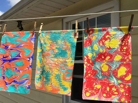 Marbling with acrylic paint on fabric