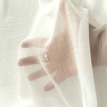 crinkled polyester chiffon fabric ivory