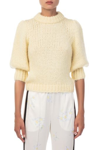 ganni the julliard mohair knitted yellow pullover