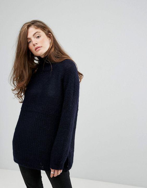 gestuz cadence mohair wool blend turtleneck sweater navy