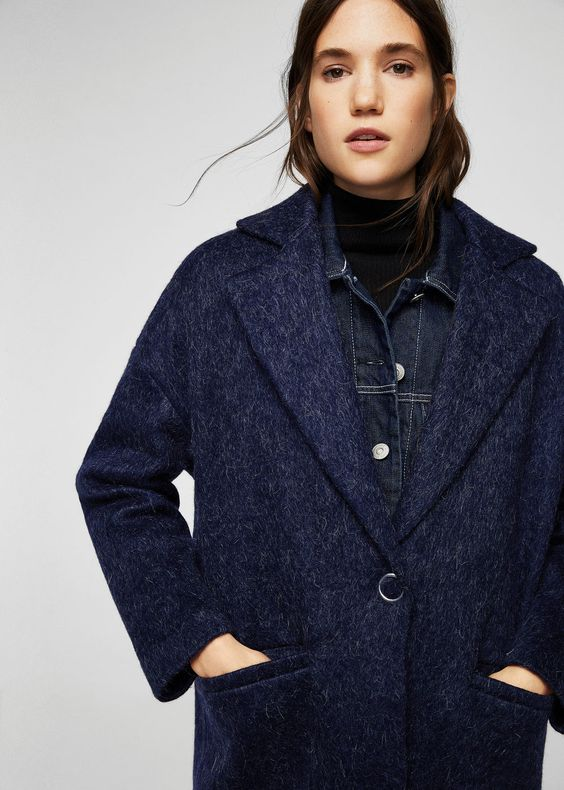 mohair wool blend fabric wide lapels dropped shoulder seam long sleeve