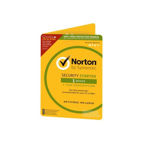 Norton Security Starter (v. 3.0) - abonnementskort (1 år) - 1 enhed