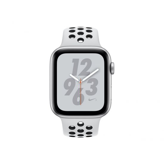 Apple Watch Nike+ Series 4 (GPS) - sølvaluminium - smart ur med Nike-sportsbånd - ren platin/sort - 16 GB