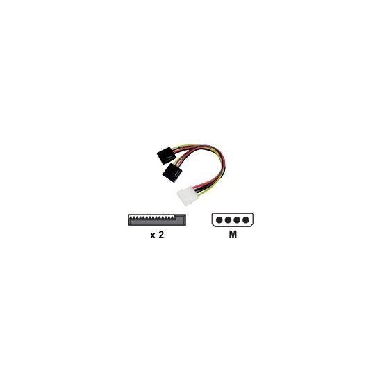 Deltaco strømkabel - 1x molex til 2x SATA Strøm