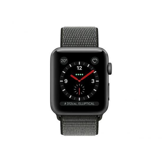 Apple Watch Series 3 (GPS + Cellular) - rumgråt aluminium - smart ur med sportsløkke - mørk oliven - 16 GB - ikke specificeret
