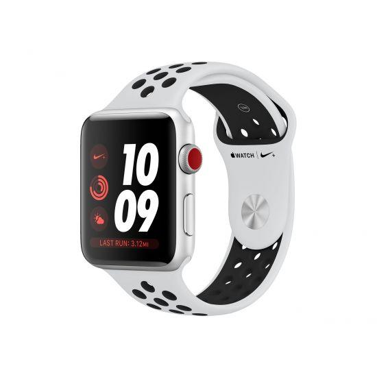 Apple Watch Nike+ Series 3 (GPS + Cellular) - sølvaluminium - smart ur med Nike-sportsbånd - sort/ren aluminium - 16 GB - ikke specificeret