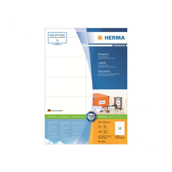HERMA Premium - laminerede etiketter - 1000 etikette(r) - 105 x 50.8 mm