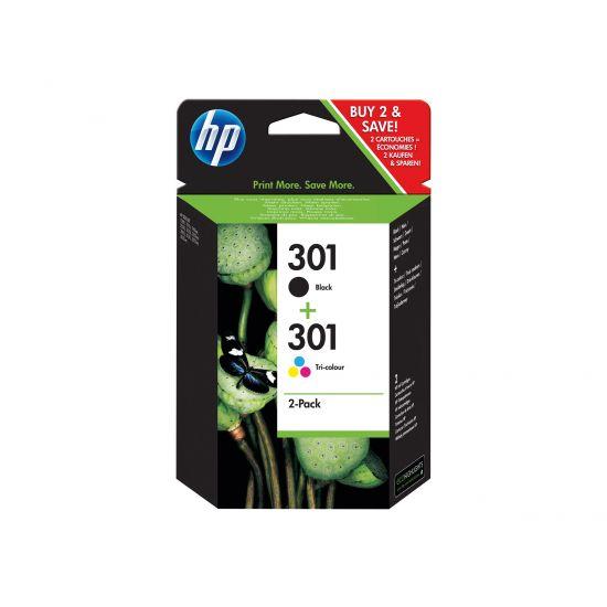 HP 301 - 2 pakker - sort, farve (cyan, magenta, gul) - original - blækpatron