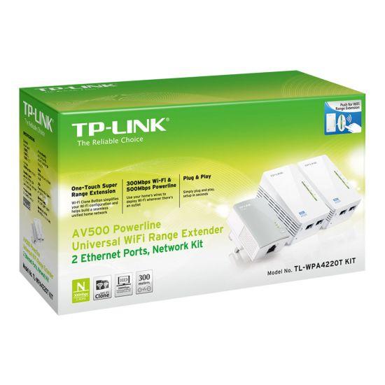 TP-Link TL-WPA4220T KIT AV500 Powerline Universal WiFi Range Extender, 2 Ethernet Ports, Network Kit - bro - 802.11b/g/n - kan sluttes til vægstik