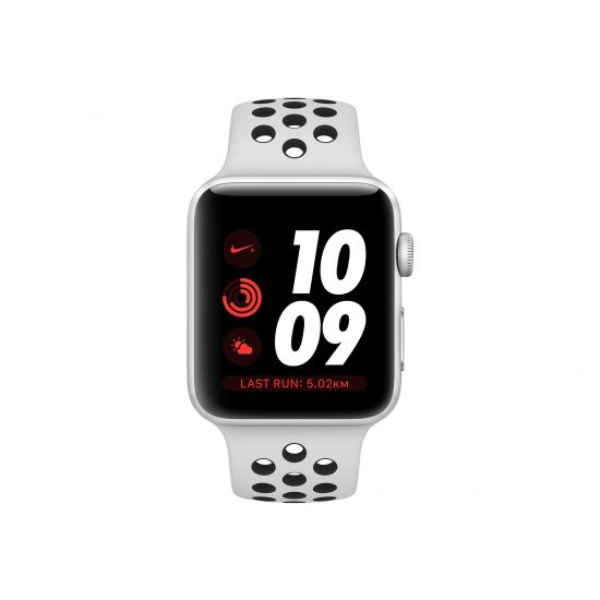 Apple Watch Nike+ Series 3 (GPS) - sølvaluminium - smart ur med Nike-sportsbånd - sort/ren aluminium - 8 GB