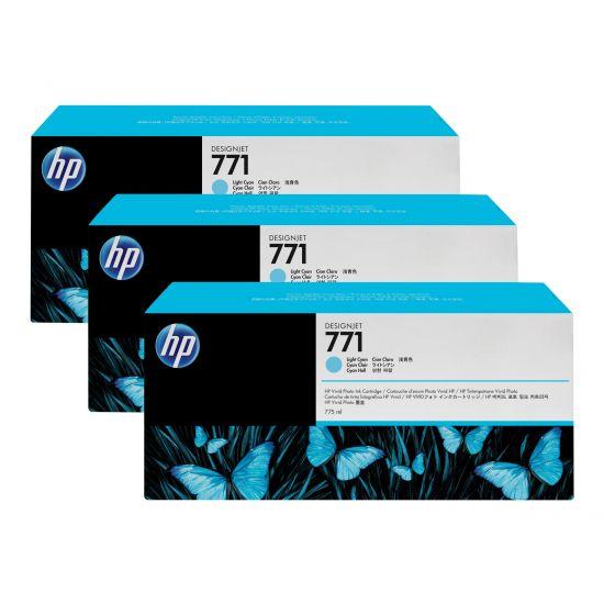 HP 771 - 3 pakker - lys cyan - original - blækpatron