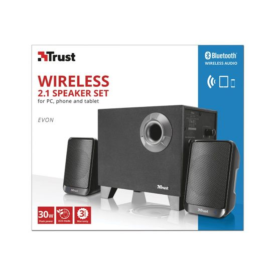 Trust Evon Wireless 2.1 Speaker Set - højttalersystem - til PC - trådløs