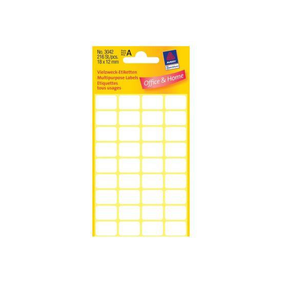 Avery Multi-Purpose Labels - etiketter til flere formål - 216 etikette(r) - 12 x 18 mm