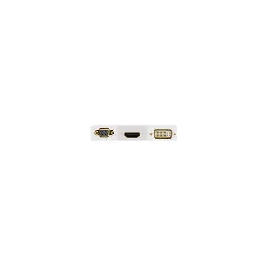 DELTACO Mini DisplayPort til HDMI / DVI-I (DUAL LINK)/ VGA 0,2 m