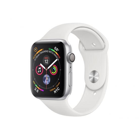 Apple Watch Series 4 (GPS) - sølvaluminium - smart ur med sportsbånd - hvid - 16 GB