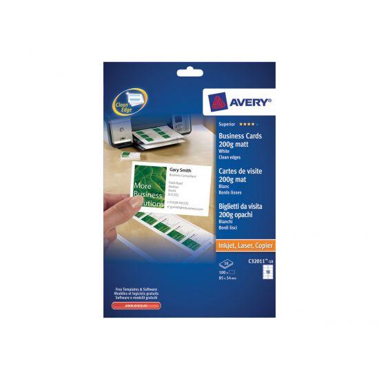 Avery Quick&Clean C32011 - visitkort - 100 kort - 45 x 85 mm - 200 g/m²