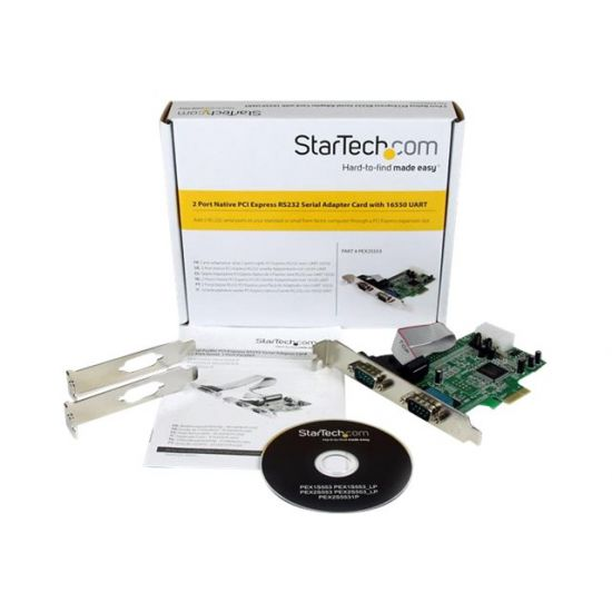 StarTech.com 2 Port Native PCI Express RS232 Serial Adapter Card with 16550 UART - seriel adapter