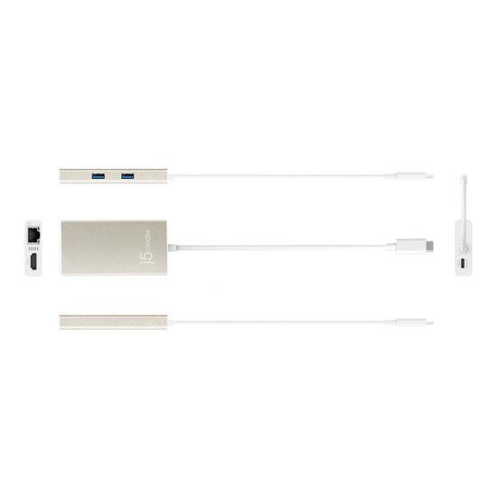 j5create JCA374 USB 3.0 Type-C Multi-Adapter - hub - 2 porte