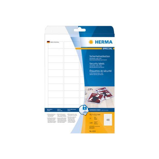 HERMA Special - selvklæbende matte sikkerheds/forseglingsfilmmærkater - 1200 etikette(r) - 45.7 x 21.2 mm