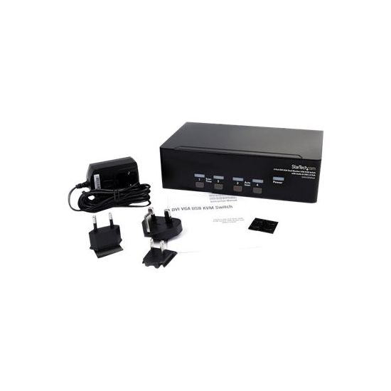StarTech.com StarView 4 Port DVI VGA Dual Monitor KVM Switch USB with Audio & USB 2.0 Hub - KVM / audio / USB switch - 4 porte
