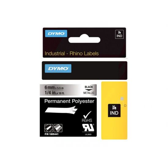 DYMO Rhino Permanent Polyester - tape - 1 rulle(r) - Rulle (0,6 cm x 5,5 m)
