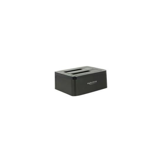 DeLOCK Dual Docking Station SATA HDD > USB 3.0 with Clone Function - lagringskontrol - SATA 6Gb/s - USB 3.0