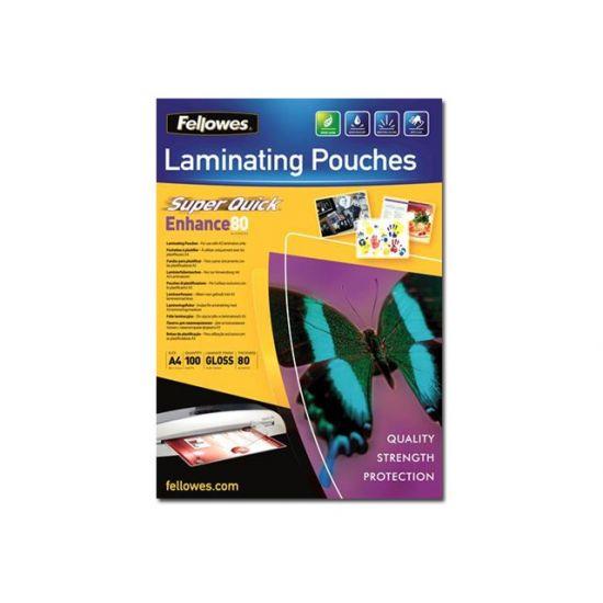 Fellowes Laminating Pouches SuperQuick Enhance 80 micron - 100-pakke - blank - laminerings poser