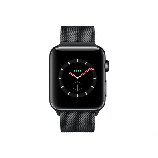 Apple Watch Series 3 (GPS + Cellular) - rumsort rustfrit stål - smart ur med milanesisk løkke - rumsort - 16 GB