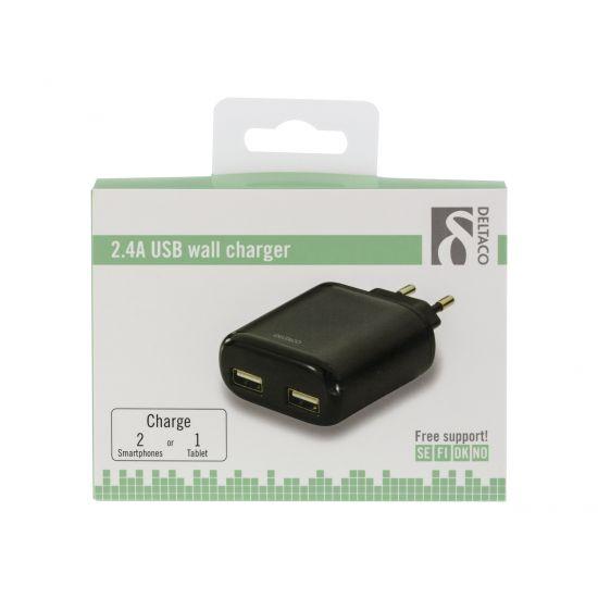 Deltaco USB-AC81 strømforsyningsadapter 2 X USB Sort