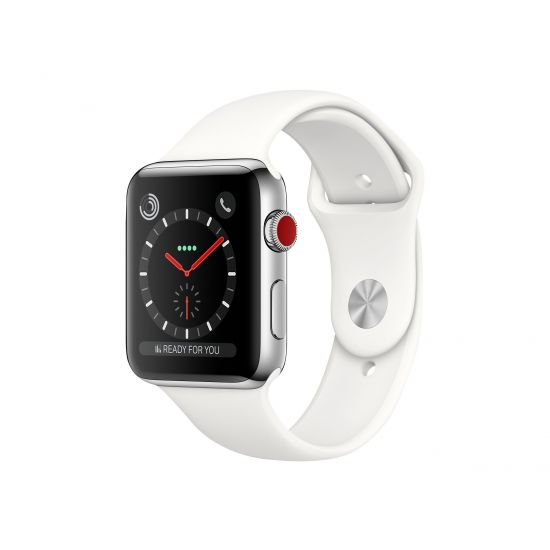 Apple Watch Series 3 (GPS + Cellular) - rustfrit stål - smart ur med sportsbånd - blød hvid - 16 GB - ikke specificeret