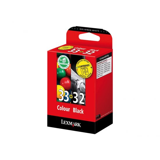 Lexmark Combo Pack #32 + #33 - 2 pakker - sort, farve (cyan, magenta, gul) - original - blækpatron