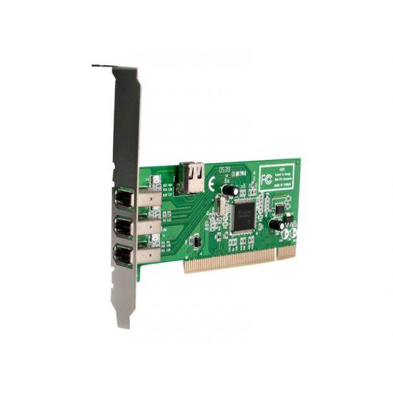 StarTech.com 4 port PCI 1394a FireWire Adapter Card - 3 External 1 Internal - FireWire adapter - 3 porte