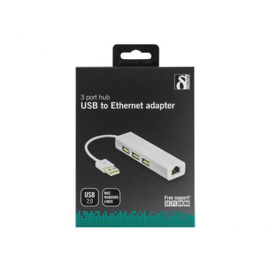 DELTACO USB 2.0 netværksadapter RJ45