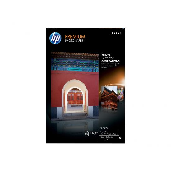 HP Premium Photo Paper - fotopapir - 25 ark - Super A3/B - 240 g/m²