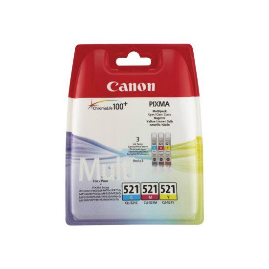 Canon CLI-521 Multipack - gul, cyan, magenta - original - blækbeholder