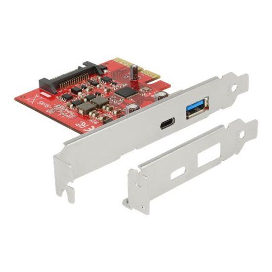 DeLock PCI Express x4 Card > 1 x external USB Type-C female + 1 x external USB 3.1 Gen 2 Type-A female - USB-adapter